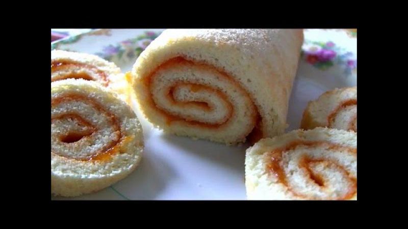 Бисквитный рулет с вареньем всего из 2 яиц Swiss roll for tea for 15 minutes