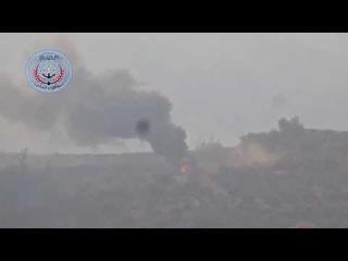 24.11.2015. #Сирия. Боевик произвел выстрел из ПТУРа по вертолету на земле