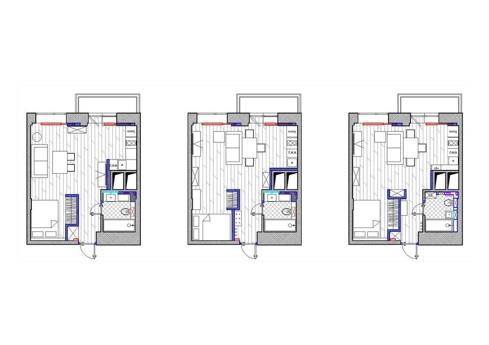 Проект и три варианта организации пространства квадратной студии 33 м.
