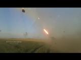 Съемка украинских карателей- БМ-21 Град в момент Минских соглашений ведет огонь по Донецку и его пригородам.