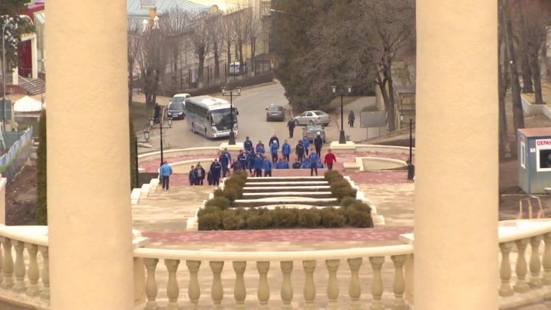 ФК Тамбов на утренней тренировке в горах Кисловодска