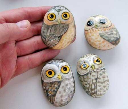 Dibujos de buhos pintados en piedras ideas de manualidades - Dibujos de piedras ...