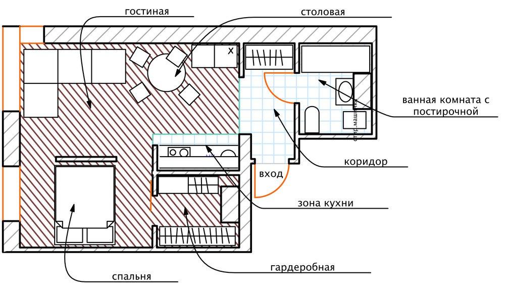 Концепт студии 36,7 м.