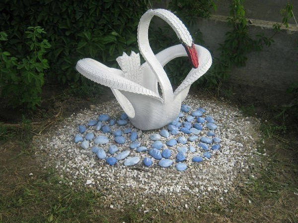 Лебедь из покрышки как сделать с