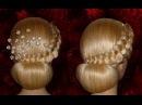 Вечерняя, свадебная причёска на средние/длинные волосы.Причёска на выпускной.Пу