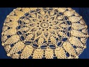 Салфетка крючком по схеме. Вязание салфетки. Ажурная салфетка. Ч. 5 (Crochet napkin. P. 5)