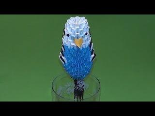 МОДУЛЬНОЕ ОРИГАМИ волнистый попугай схема сборки пошаговое изготовление (мастер класс)
