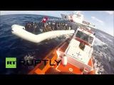 Италия: Итальянская Береговая Охрана перехватывает 110 беженцев в Средиземном Море.