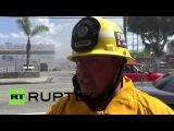 США: Пожарные бой промышленного пожар в Лос-Анджелесе.
