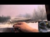 ПОЛНЫЙ видеоурок И.Сахарова  ЗИМНИЙ ПЕЙЗАЖ Научиться рисовать воду, снег