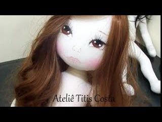 Como colocar cabelo sintético em boneca de pano e como traçar um rosto para molde da sua boneca