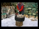 Splitting firewood safely and efficiently with Vipukirves Leveraxe