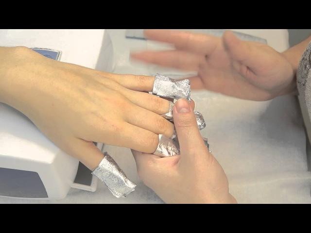 Снятие покрытия ногтей гелевым лаком (гель лаком) ibd, EzFlow и другими. Компания Виктори