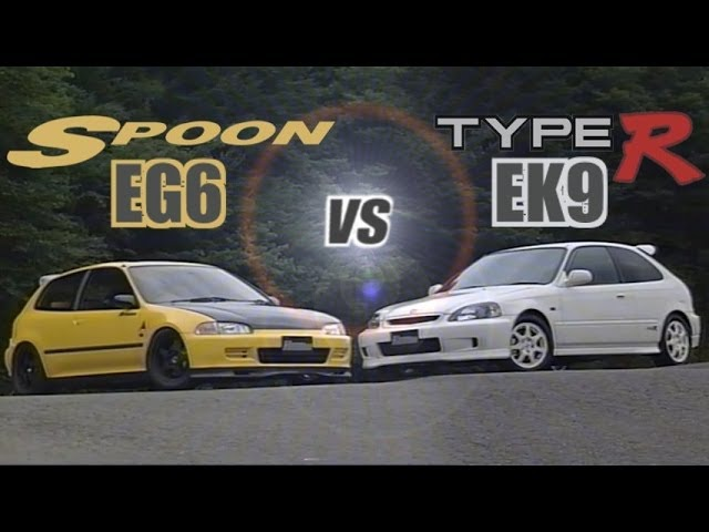 ENG CC Spoon Civic EG6 B18C vs Civic Type R EK9 B16B in Ebisu 1998