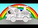 Мультики про машинки и цвета Волшебная Радуга. Пожарная Машина