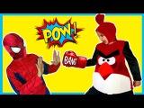 Человек Паук и Энгри Бердз в Реальной Жизни. Красная Злая Птица Атакует Человека Паука
