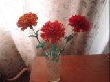 Цветы из ткани своими руками.(1 часть) Гвоздика на стебле в вазу.(мастер класс)