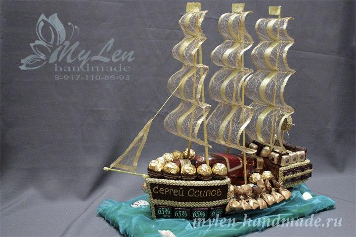 Корабль из конфет пошагово