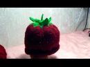 Как связать детскую шапочку шапку Клубничка для девочки спицами