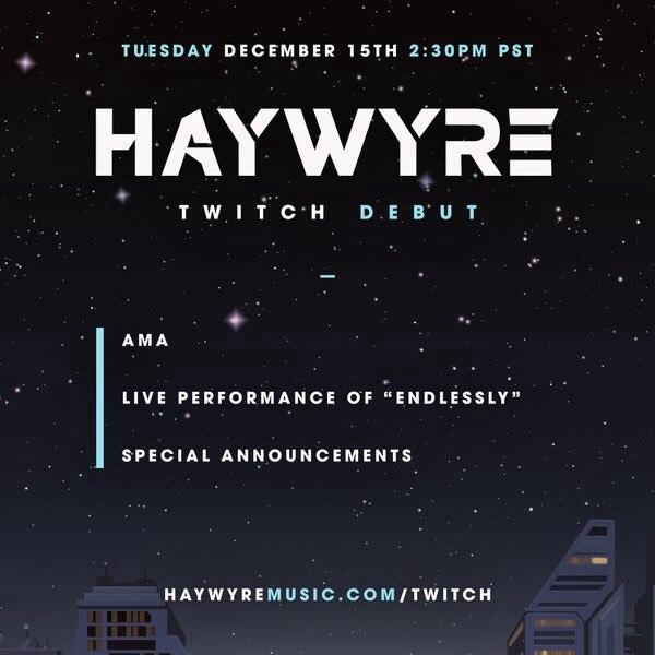 Сегодня! Специальная трансляция и AMA (Ask me anything / спрашивай обо всём) с Haywyre в 01:30 по МСК!