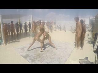 naked oil wrestling at Burning Man 2015