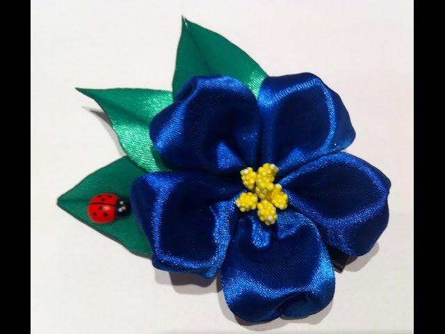 Украшение на заколку Канзаши/Синий цветок Канзаши