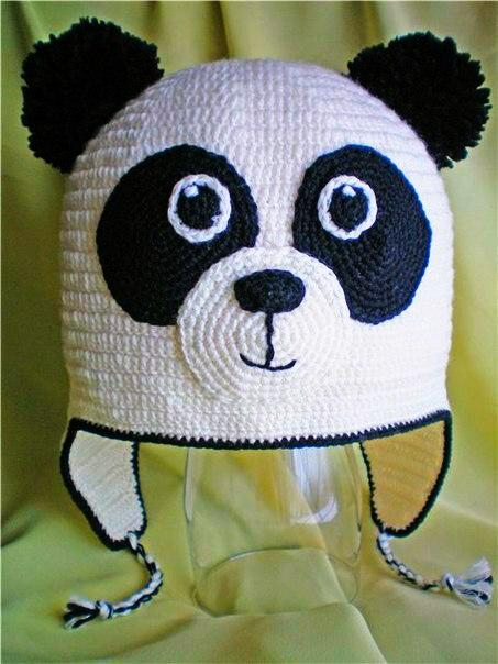 Как связать шапочку панда