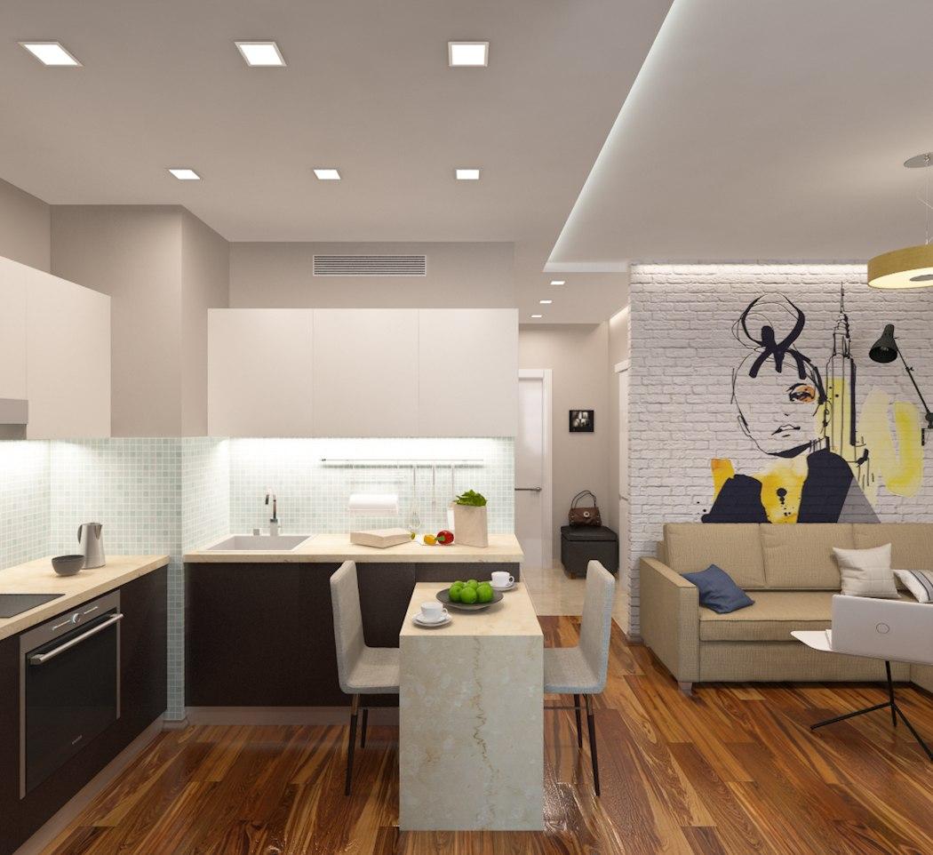 Проект квартиры 43 м с выделенной спальней.