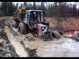 Day in wet forest with Belarus Mtz 892 + homemade trailer