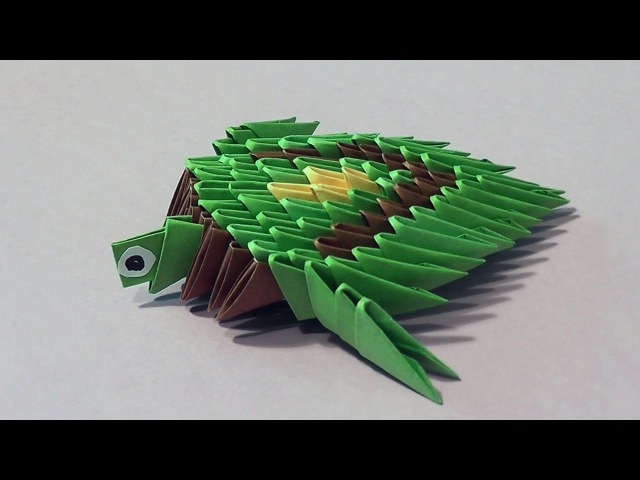 How to make a turtle 3D origami (modular origami) for beginners