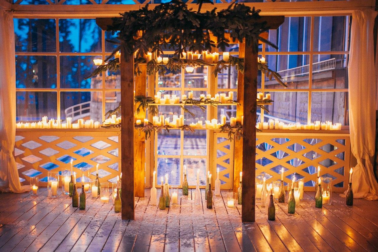 декор арки для выездной регистрации свечами