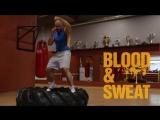 Бокс. Комплекс упражнений для тренировки ног на покрышке. Boxing. Using a tire.