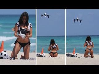 Half-Naked Italian Model Meets Drone!