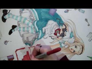 Copic Marker Colouring Speedpaint of Alice In wonderland