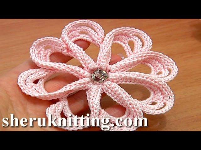 How to Сrochet Flower 8 Petals Tutorial 58 Stitches Worked Around Post