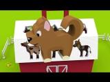 Мультики про машинки Трактор на ферме Домашние животные для детей- учим названия  и голоса животных