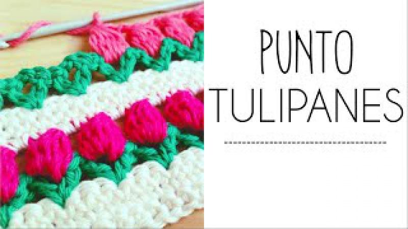 Punto TULIPANES en fila a Crochet - PuntoPedia
