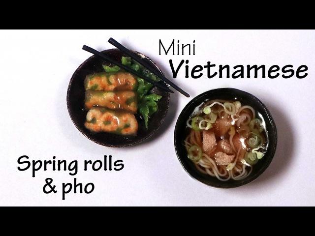 Miniature Vietnamese Spring Rolls Pho - Polymer Clay Tutorial