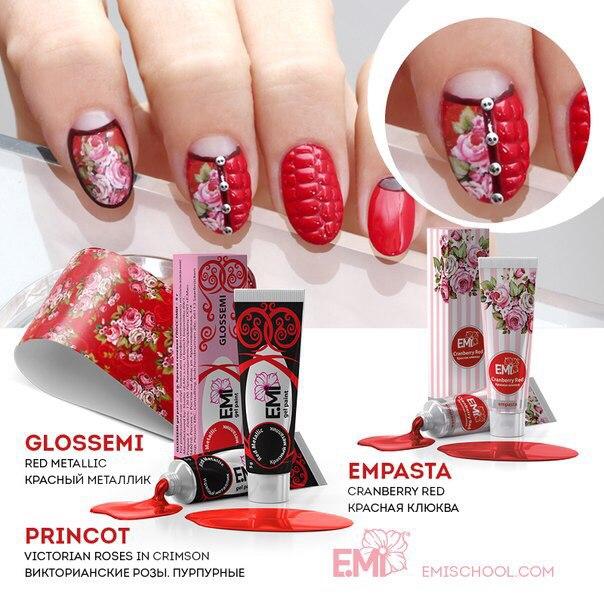 Дизайн малиновых ногтей