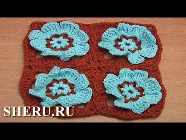 How to Join Floral Motifs Together Урок 41 часть 2 из 2 Мотив с цветком в центре