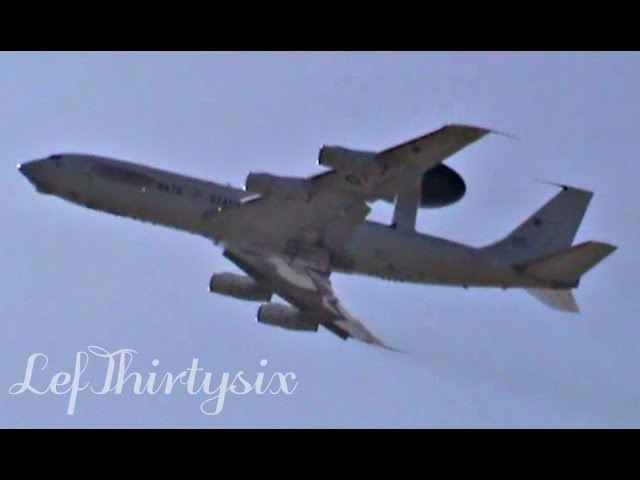 [HD] Boeing E-3 Sentry AWACS (NATO) touch and go at Brindisi Airport
