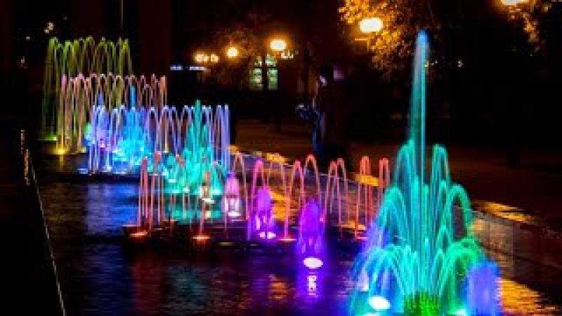 Светомузыкальный фонтан в Казани.Крылья Советов Light music fountain in Kazan