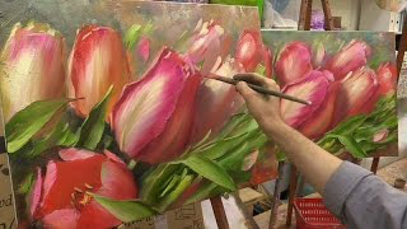 Весеннее тюльпаны. Мастер-класс. Tulips. Master class by Oleg Buyko on two canvases.