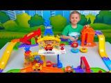 Машинки и БОЛЬШОЙ гоночный трек Vtech - Интерактивные машинки для детей на радиоуправлении. Cars