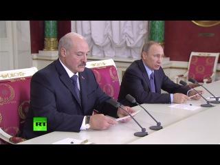 Пресс-подход Владимира Путина и Александра Лукашенко по итогам переговоров в Москве. 15.12.2015.