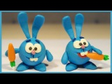 Лепим Смешарика Кроша из пластилина. Kikoriki made of clay. PogorikiKrosh (Rabbit)