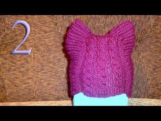 Вяжем шапочку Кошачьи Ушки для ребенка спицами
