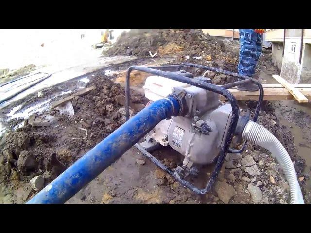 Работа бензиновой мотопомпы Koshin KTH-80X для грязной воды