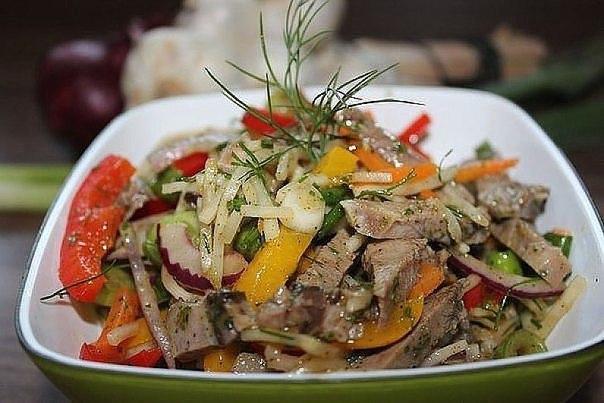 Салат с языком и перцем рецепт