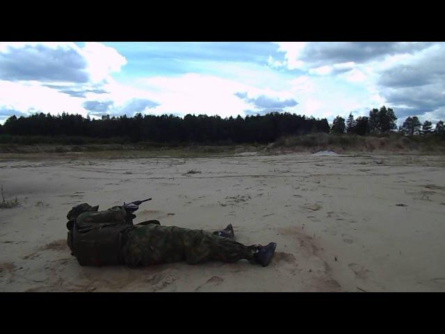 Стрельба лежа в бронежилете (Сайга 20К)